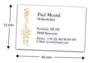 Visitenkarten-Abmessung 85 x 55 mm
