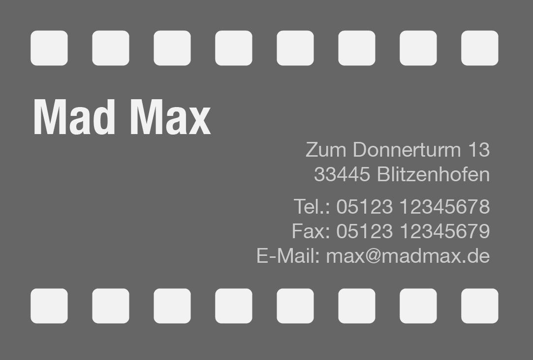Visitenkarten-Vorlage mit Kino-Flair