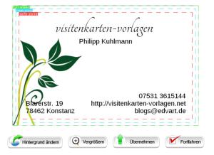 """""""fertige"""" Visitenkarte - online erstellt"""