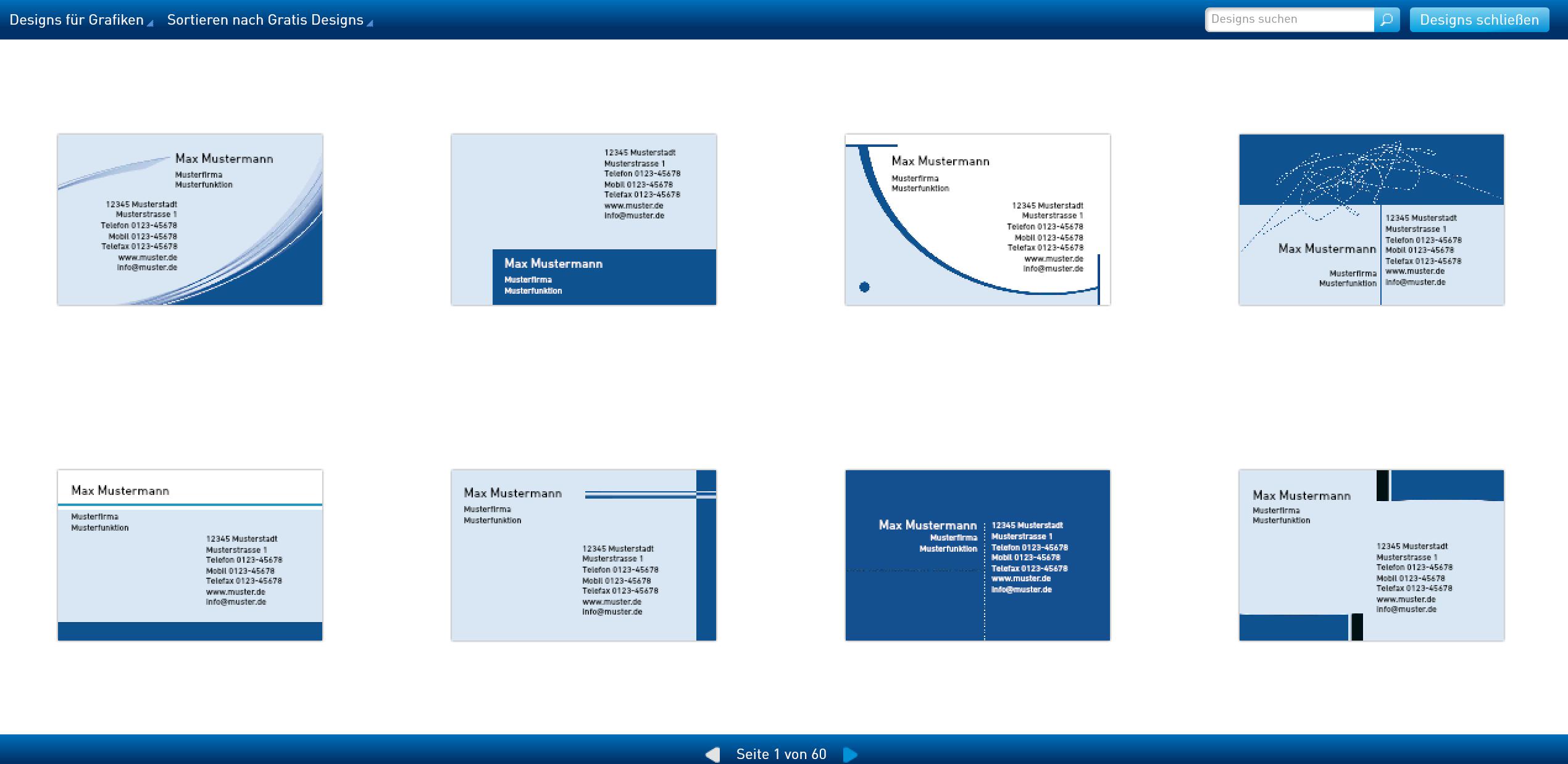 Designs von Vorlagen für Visitenkarten