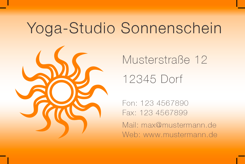 Yoga-Studio | Visitenkarten Vorlagen
