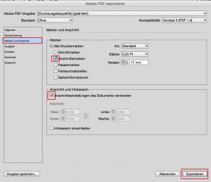 Indesign Einstellungen PDF Export Anschnitt
