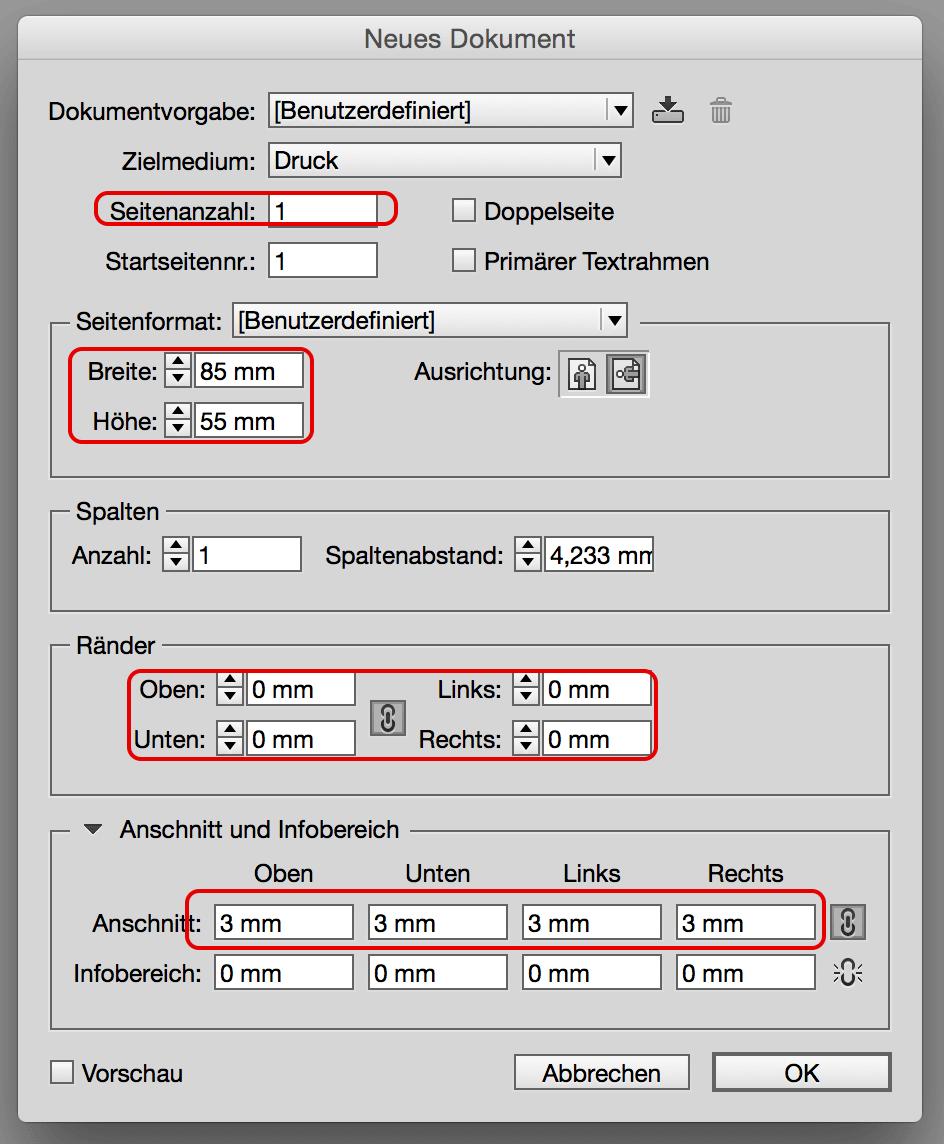 Einstellungen für Visitenkarte bei InDesign