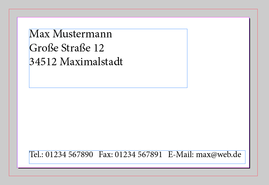 2 Textfelder auf der Visitenkarte in InDesign