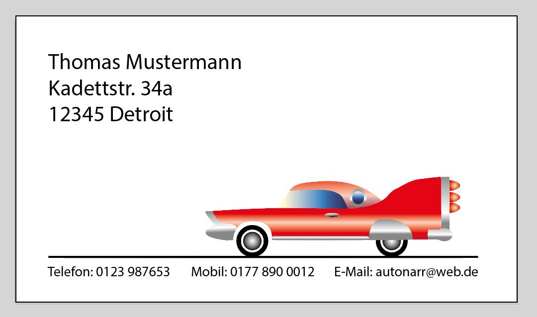 Visitenkartenvorlage für Auto-Fans