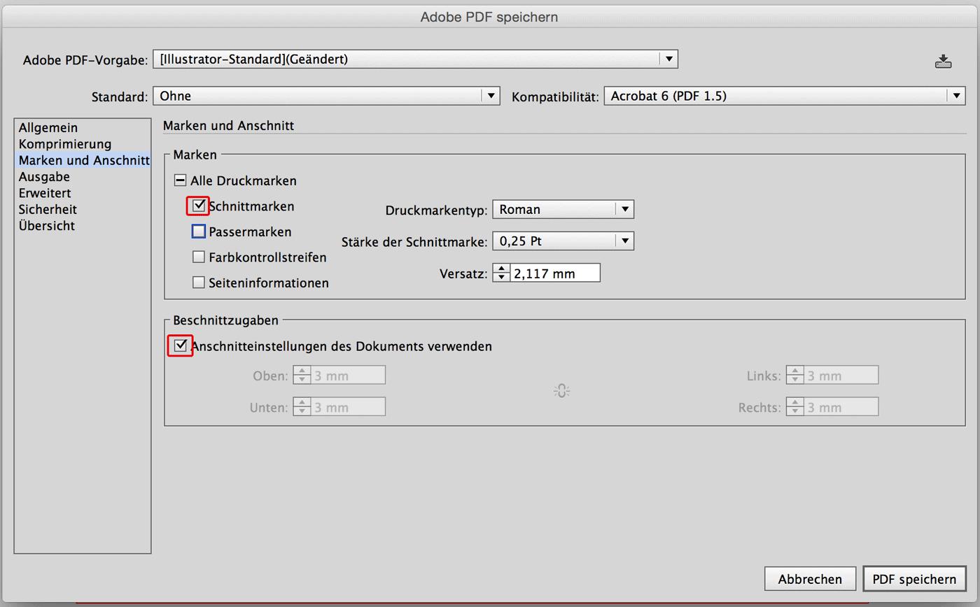 Illustrator Anschnitt-Einstellungen bei PDF