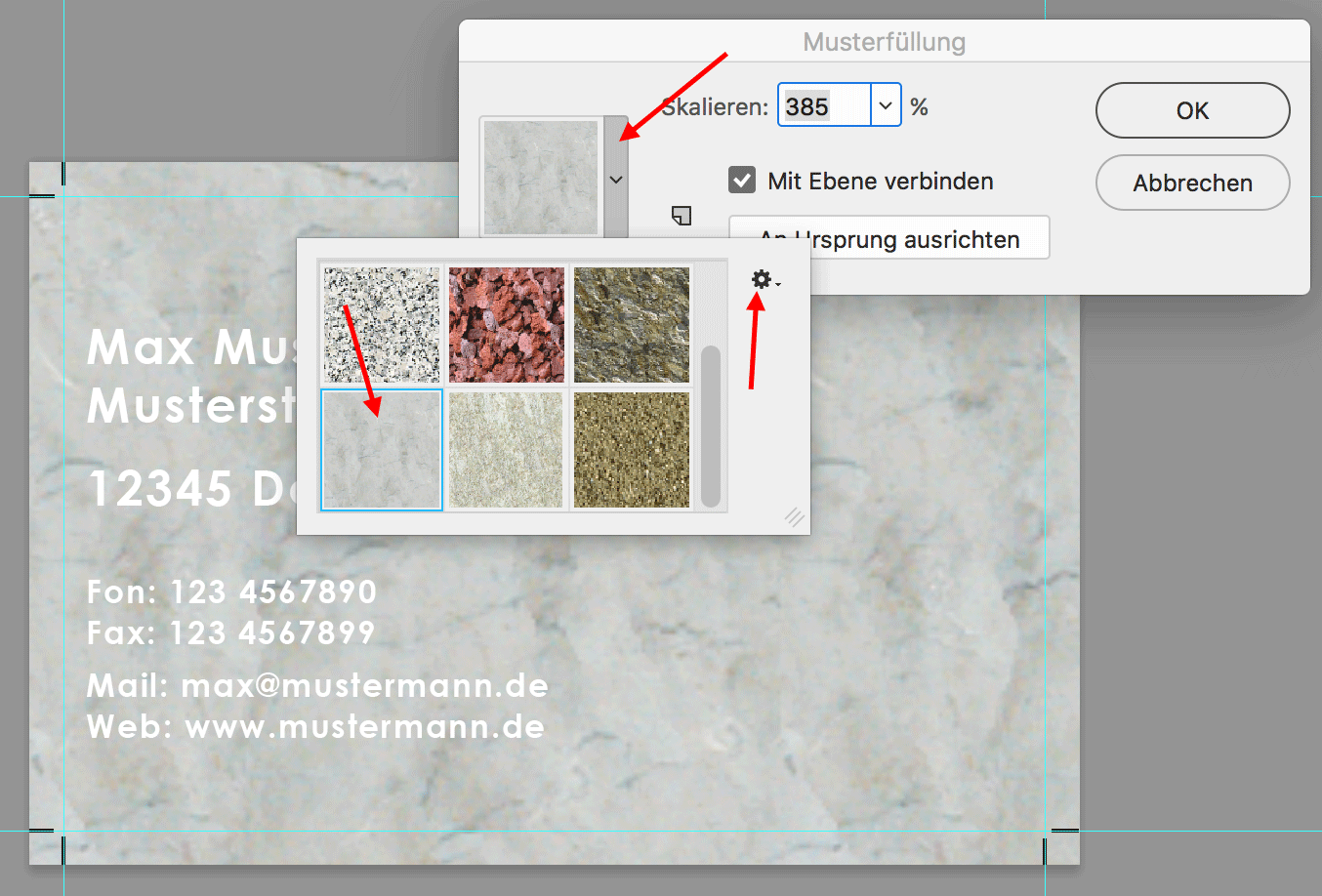 In Photoshop anderes Muster anwählen über Dropdown